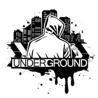 Ilustración de estilo urbano del hombre con capucha detrás de la silueta de la ciudad. estilo de arte callejero. diseño estampado de camiseta.