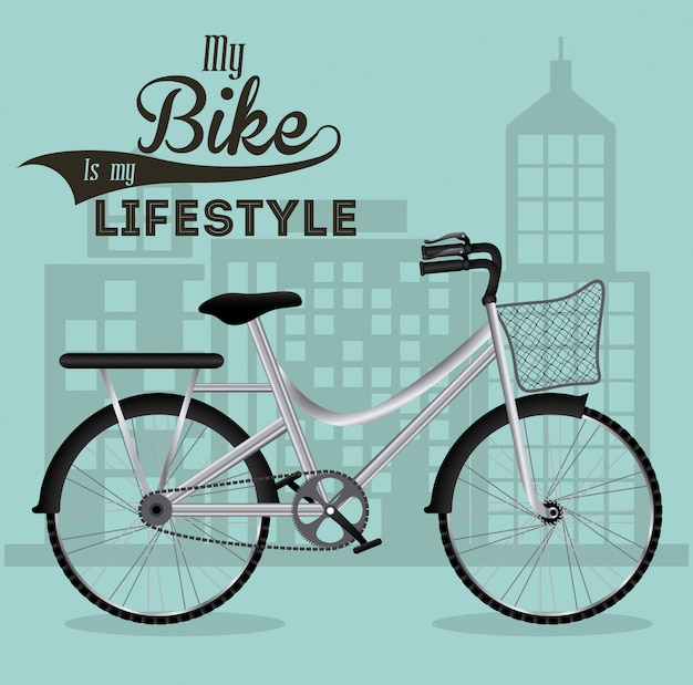 Ilustración de estilo de vida en bicicleta