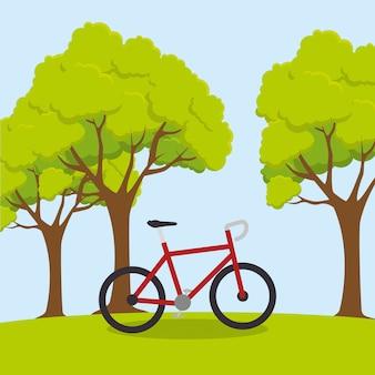 Ilustración de estilo de vida de bienestar de deporte de bicicleta
