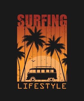Ilustración de estilo de vida de surf