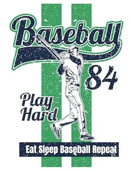 Ilustración de estilo vintage de jugador de béisbol