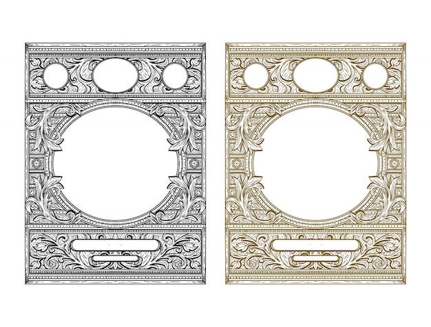 Ilustración de estilo vintage de marco