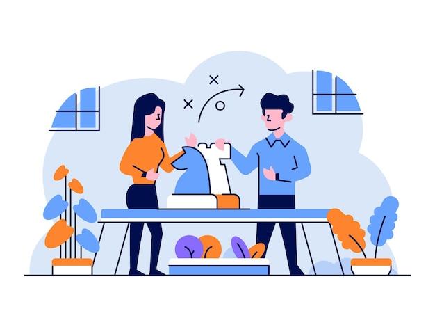 Ilustración estrategia de estrategia de táctica de finanzas comerciales que establece discusión plana y estilo de diseño de esquema