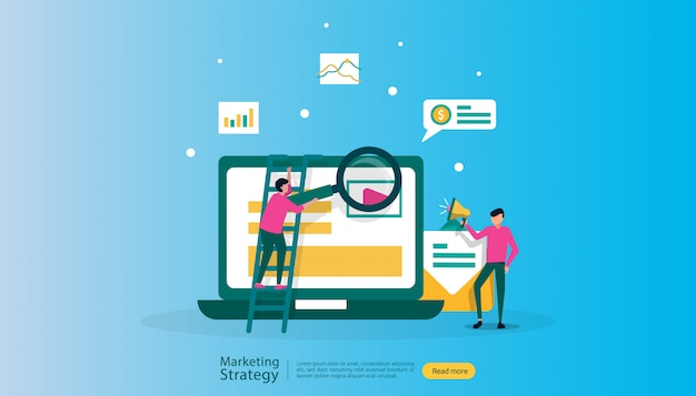 Ilustración de estrategia de marketing digital de afiliados
