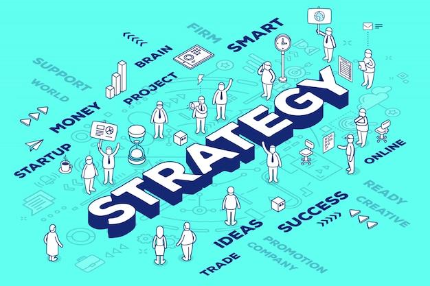Ilustración de la estrategia de palabra tridimensional con personas y etiquetas sobre fondo azul con esquema.