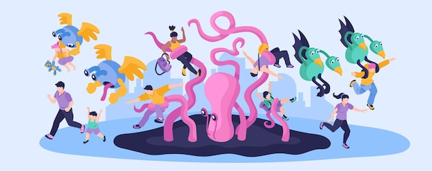 Ilustración estrecha colorida de extraterrestres con personas que huyen de personajes monstruosos de dibujos animados isométricos