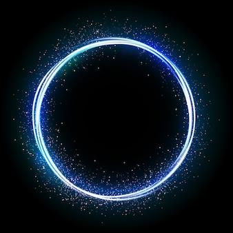 Ilustración de estrella brillante, círculo de polvo, resplandor, luces.