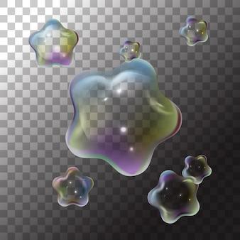 Ilustración estrella de pompas de jabón en transparente