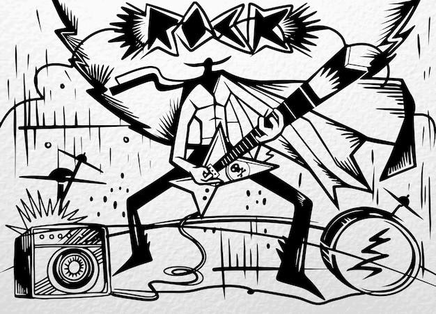 Ilustración de la estrella de rock actuando con guitarra