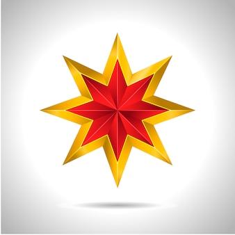 Ilustración de estrella roja dorada 3d