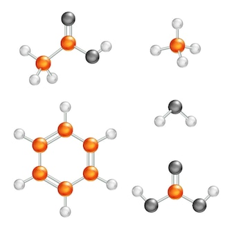 Ilustración de la estructura molecular, modelo de molécula de bola y palo
