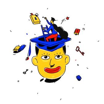 Ilustración de un estudiante en una gorra cuadrada.