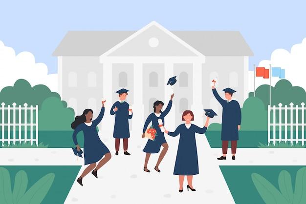 Ilustración de estudiantes graduados feliz. dibujos animados plana jóvenes de diferentes naciones saltando con gorra, certificado o diploma en manos, personajes celebrando la educación de graduación de fondo