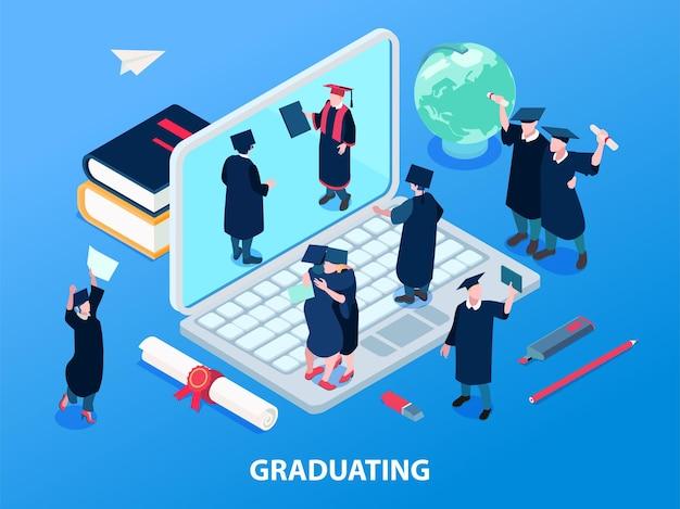 Ilustración de estudiantes graduados