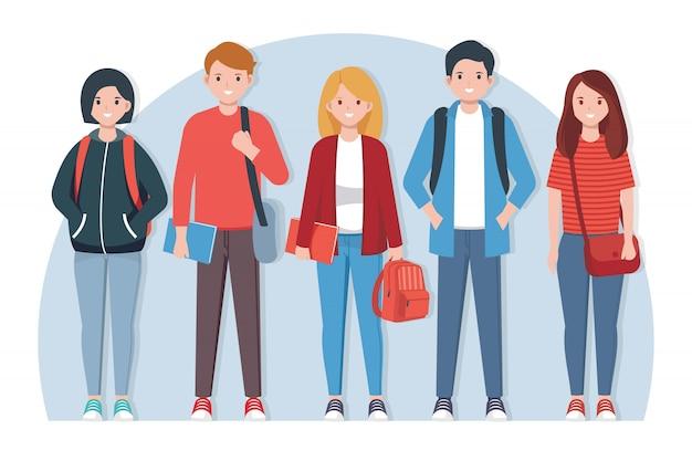 Ilustración de estudiantes de secundaria con atuendo casual