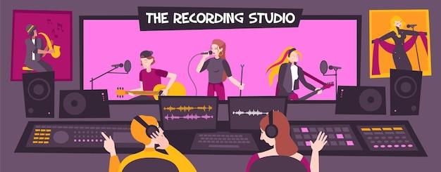 Ilustración de estudio de grabación en color y plano.