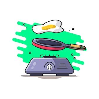 Ilustración de estufa, sartén y huevo