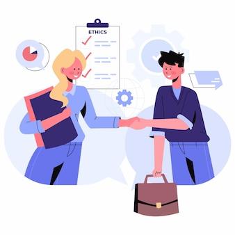Ilustración de ética empresarial de diseño plano con personas