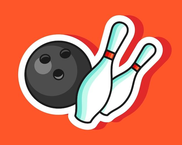 Ilustración de etiqueta de bola y alfileres