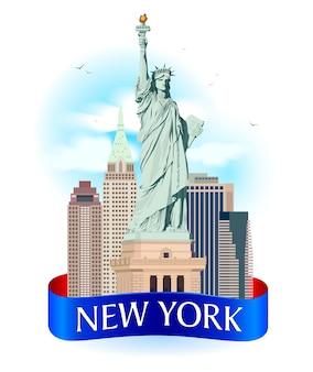 Ilustración de etiqueta de la ciudad de nueva york.