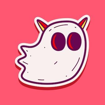Ilustración de etiqueta engomada del doodle de monstruo