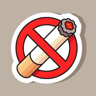 Ilustración de etiqueta de señal de no fumar