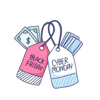 Ilustración de etiquetas de etiquetas de black friday y cyber monday