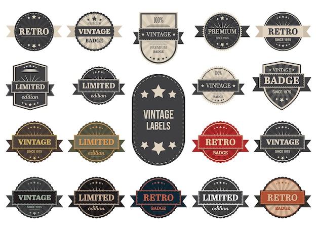 Ilustración de etiquetas vintage aislado sobre fondo blanco