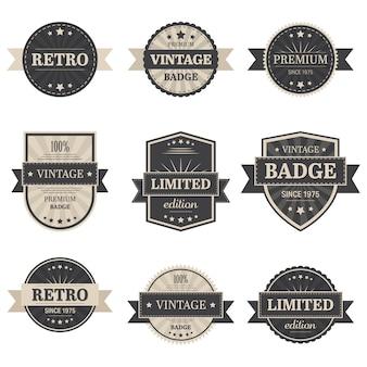 Ilustración de etiquetas vintage sobre fondo blanco
