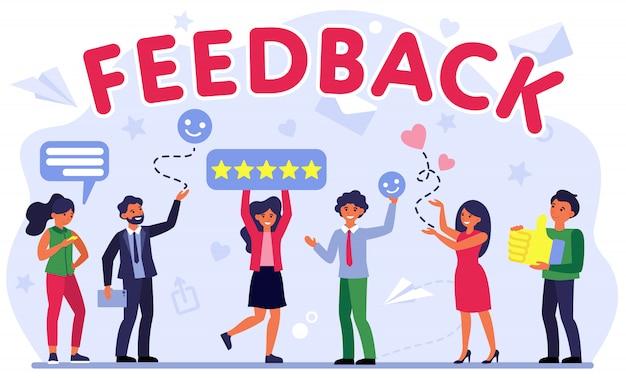 Ilustración de evaluación de comentarios del cliente