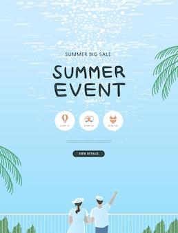 Ilustración de evento comercial de verano.