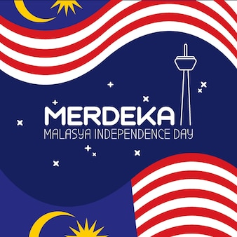 Ilustración del evento del día de la independencia de malasia.
