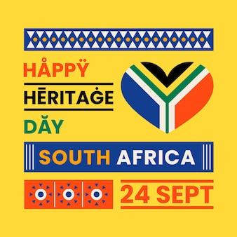 Ilustración de evento de día de patrimonio de diseño plano con texto