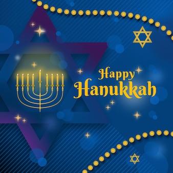 Ilustración de evento de hanukkah azul y dorado