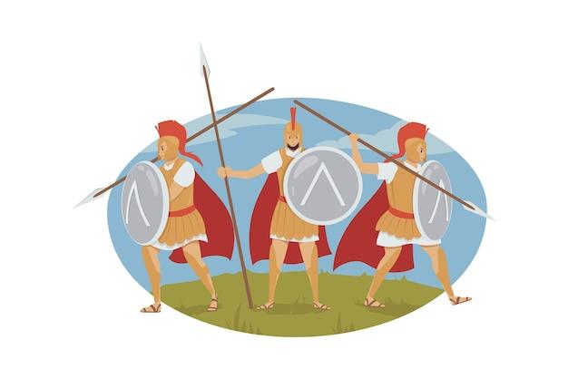 Ilustración de evento histórico griego antiguo. .