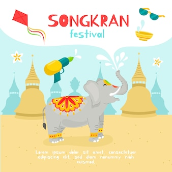 Ilustración de evento de songkran de diseño plano de elefante lindo