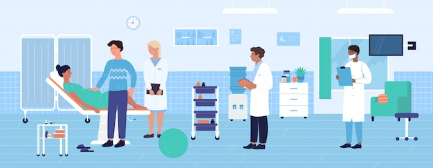 Ilustración de examen obstétrico del hospital. equipo médico ginecólogo obstetra de dibujos animados examinando paciente mujer embarazada antes del parto. fondo de salud de medicina de maternidad