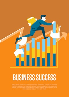 Ilustración de éxito empresarial con empresario