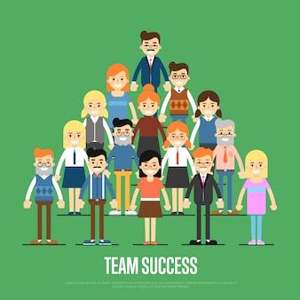 Ilustración de éxito del equipo con gente de negocios