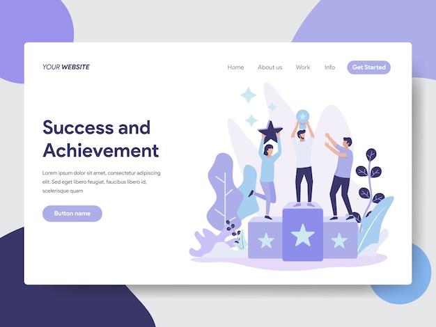 Ilustración de éxito y logros para la página web
