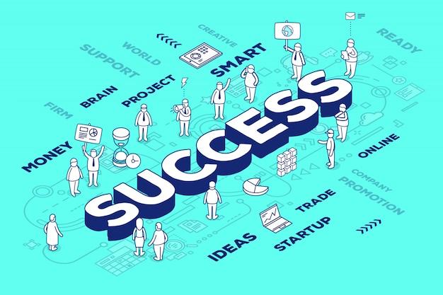 Ilustración del éxito de la palabra tridimensional con personas y etiquetas sobre fondo azul con esquema. concepto de éxito empresarial.