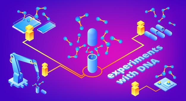 Ilustración de experimentos de adn de tecnología para la investigación genética de medicamentos y microbiología genética