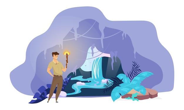 Ilustración del explorador. el hombre descubre la cascada escondida. búsqueda masculina dentro del túnel de montaña. soporte de niño con antorcha en cueva. escena de la naturaleza fantástica. personaje de dibujos animados turísticos