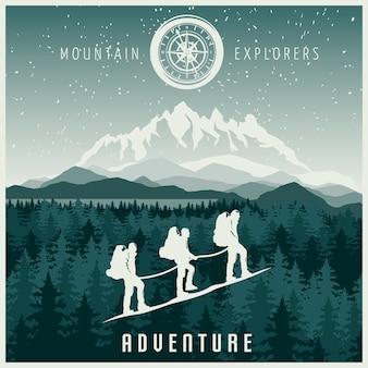 Ilustración de exploradores de montaña
