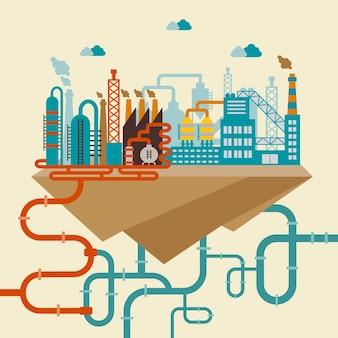 Ilustración de una fábrica para la fabricación de productos o planta de refinería