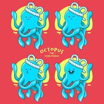 Ilustración del fabricante de sushi de pulpo azul para el logotipo de la mascota del clip art de la pegatina
