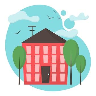 Ilustración de la fachada del edificio un edificio es rojo con ventanas y una puerta paisaje de la ciudad
