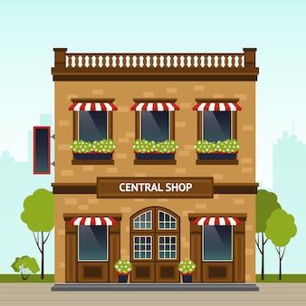 Ilustración de fachada de tienda