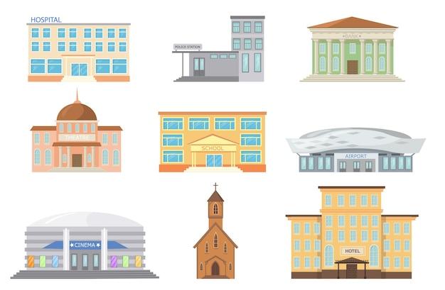 Ilustración de fachadas de edificios de la ciudad.