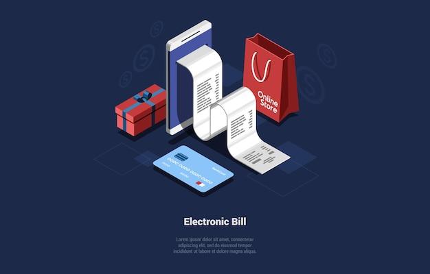 Ilustración de factura electrónica. composición en estilo de dibujos animados 3d.
